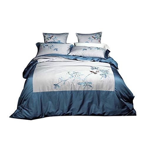 Bettwäschesatz Heimtextilien 60S Baumwolle Stickerei vierteiliges Set Baumwolle Bettbezug und Bettwäsche Multi-Color optional (Farbe : D, größe : L)