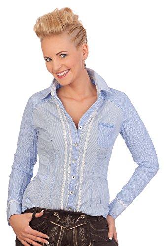 Trachten Bluse Crashoptik, langer Arm - BELAU - hellblau, Größe 44