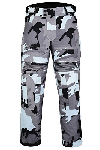 Pantalone da moto, rinforzato, termica e impermeabili,, motivo mimetico, colore: grigio Grigio Gris camouflage EU 56 long