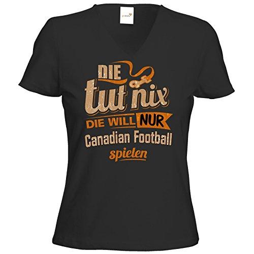getshirts - RAHMENLOS® Geschenke - T-Shirt Damen V-Neck - Die tut nix - Die will nur Canadian Football - schwarz XXL (Football Schwarz Canadian)