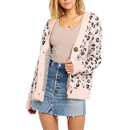 ZEELIY Damen Winterjacke Warm Strickjacke Langarm Cardigan Strickpullover Casual Leopard Wickel Pullover Sweater
