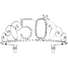 aeeed6547a329 Ouinne Tiara Cristal Cumpleaños Corona Princesa Feliz Cumpleaños de Número  50 Accesorios ...