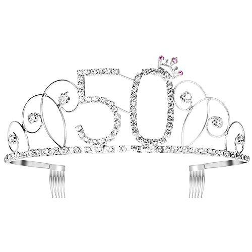 Ouinne Kristall Geburtstag Tiara 50th Birthday Crown Prinzessin Diamante Kronen mit Haarkämme, Silber