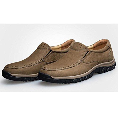 Automne Et Hiver En Cuir Casual Chaussures Confortable Hommes Chaussures Ensemble De Pieds Chaussures Paresseuses Résistant Usure Chaussures De Course Chaussures Kaki
