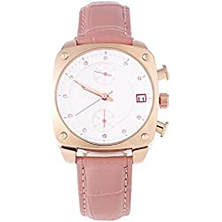 Leopard Shop GUOU 8108 Women Quartz Watch Chronograph Square Dial Artificial Diamond Scale 3ATM Wristwatch Pink