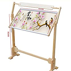 Shzoe Cross Stitch Frame Floor Stand Wooden Embroidery Tapestry Hoops Wooden M