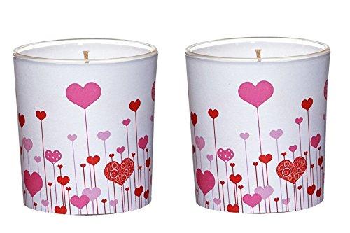 """2 Kerzen im Glas mit Motiv Ø7,1cm x h7,8 cm """"I Love you"""" Rosa mit Herzen Teelicht Kerze Motivkerze Liebe Freundschaft"""