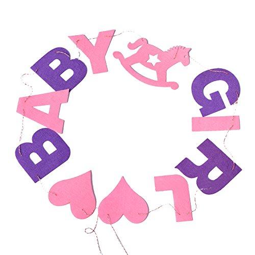 wdoit Geburtstag Party Farbe Flagge Baby Bay Baby Mädchen Buchstabe Pull Flagge Baby-Raum Dekoration Banner Vlies 150cm, Pink girl, 150 cm (Raum Baby-mädchen-dekorationen Für)