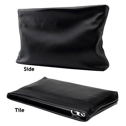 Echtes Leder Handtasche, ACMEDE Herren Banktasche mit RFID Shutz Persönlichetasche passen für Smartphone/Geldbörse/Zigaretten/ alles in ein tasche drin (Schwarz Schafleder ) klein-27x17 cm