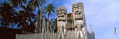 Totem poles Puuhonua O Honaunau National Historical Park Hawaii USA Photo Print (45,72 x 15,24 cm) (Hawaii-totem Pole)