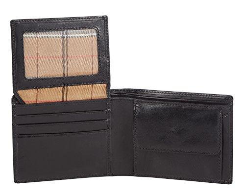 Visconti portafoglio di pelle da uomo a piegatura tripla 'Monza' Italian Leather Wallet (MZ4): (nero (black))