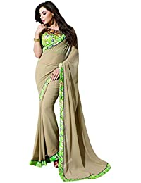 LORD'S Georgette Saree(SLY5518_Brown_Free Size)