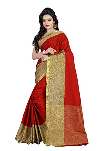 gaurav sarees light Exclusive Women's Tissue Cotton Banarasi Saree Red.