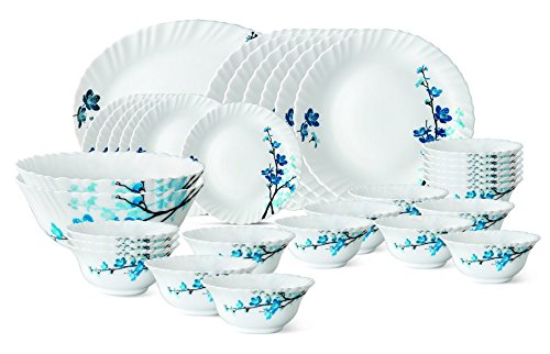 Larah by Borosil Mimosa Glass Dinnerware Set, 33-Pieces, White