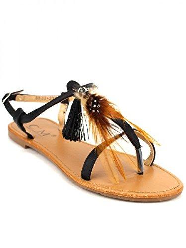 Cendriyon, Tong Noire C'M Plumes Chaussures Femme Noir