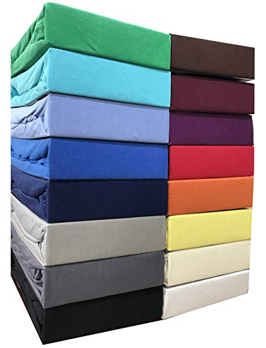 Leonado Vicent - Classic Spannbettlaken Bettlaken 100{00bfe549a02928315bd8f9cbf954c0d60c75ab4ccd79f0c374d39b7ff0ea84a4} Baumwolle Jersey Spannbetttuch in vielen Farben & Größen MARKENQUALITÄT ÖKO TEX Standard 100