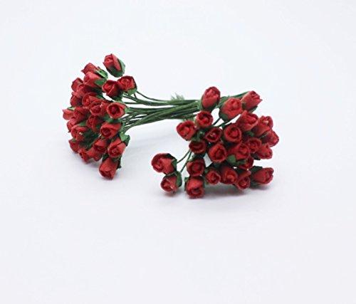 50 rote kleine Rose Scrapbooking Handwerk 5mm Mulberry Paper Blumenkarte Mi Dollhous