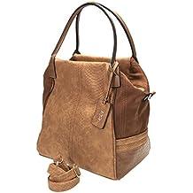 Vintage Style Fettleder Imitat Handtasche, 34x24x12cm, mit Trageriemen, RV hinten, diverse Fächer, Metalfüßchen, braun Collezione Alessandro