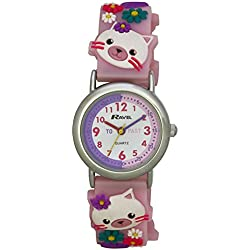 Ravel Kitten 3D Watch with Timeteacher Dial Children's Quartz Watch with White Dial Analogue Display and Multicolour Plastic Strap R151366