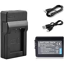 BPS NP-FW50 batería + USB cargador de batería para Sony NEX-5C, NEX-C3, NEX-7, NEX-7C, A33, A55, NEX-5N NEX-F3 SLT-A37, NEX-7 NEX-6, NEX- 5R, A3000, A7, Sony Alpha 7, a7, Alpha 7R, A7R, Alpha 7R II, a3000 Alfa, A6000, Sony Cyber-shot DSC-RX10 Sistema compacto con Mirco Cable USB y mini USB de la cuerda