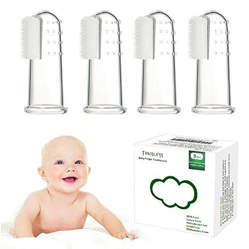 Zahnbürsten Zahnpflege, Tinabless Baby Kindermundpflege Weiche Fingerzahnbürste inkl. Aufbewahrungsbox für Zähneputzen und Zahnfleischmassage - 4 Stück