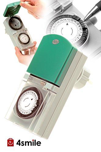 ZEITSCHALTUHR STECKDOSE Tempo OUTDOOR 3 Stück von 4smile   mechanische Schaltuhr mit Tagesprogramm (24h) 48 Schaltzeiten pro Tag   für den Außenbereich IP 44   Kinderschutz   Farbe: grau-grün