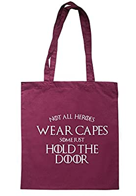 BreadandButterThreads Not All Heroes Wear Capes Some Just Hold The Door Tote Bag 37.5cm x 42cm with long handles