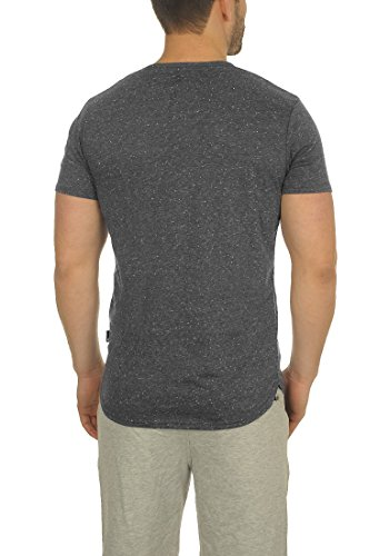 !Solid Tedros Herren T-Shirt Kurzarm Shirt V-Ausschnitt Brusttasche Aus 100% Baumwolle Meliert Black (9000)