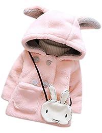 Koly Bebé niñas piel invierno cálida con capucha capa capa chaqueta gruesa ropa de abrigo (incluido el conejo) (24M, Rojo)