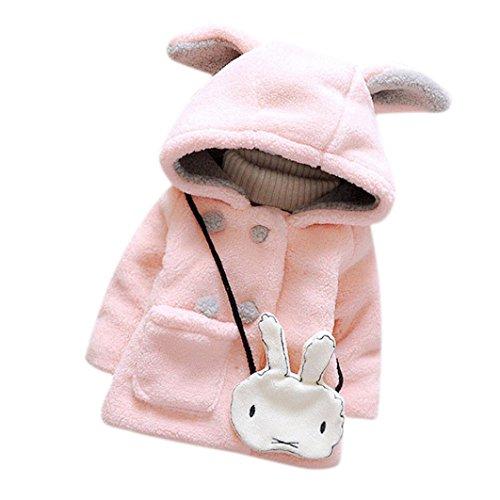 Koly Bebé niñas piel invierno cálida con capucha capa capa chaqueta gruesa ropa de abrigo (incluido el conejo) (18M, rosado)