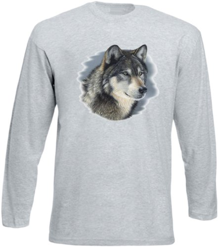 Wild Style! Lässiges Wolf, Husky Herren Langarmshirt, Longsleeve cold stare Originelles Geschenk! Grau