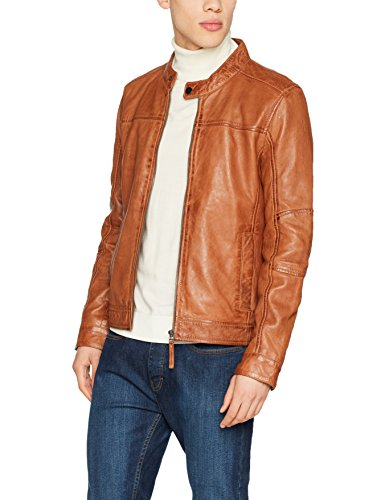 Kings on Earth Herren Echtlederjacke Rash Slim Fit, Braun (Cognac COG), Medium (Cog Cognac)