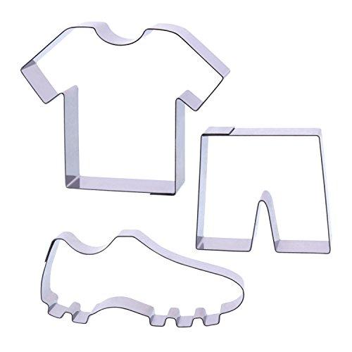 Der-Ideen-Shop 1 Keksausstecher Set Fußball   Trikot   Shorts   Fußballschuhe