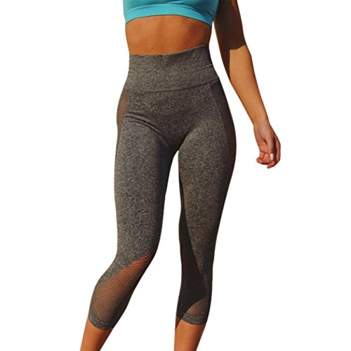 VJGOAL Mesh Stitching Cropped Pants Women High Waist Sports Gym Yoga Running Fitness Leggings Pants Workout Clothes