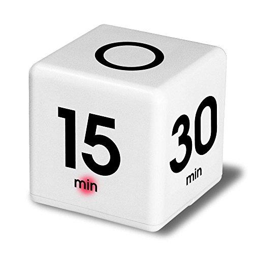Time Cube der Wunder-Zeitwürfel mit 5, 15, 30 und 60 Minuten für Das Zeitmanagement - Digitaler Wecker - Küchen-Timer - Hausaufgaben-Timer - Trainings-Timer - Meeting-Timer (Weiß)