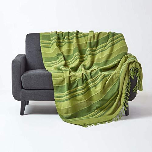 Homescapes Tagesdecke / gestreifter Sofaüberwurf Morocco in Grün 225 x 255 cm - handgewebt aus 100% reiner Baumwolle mit Fransen -