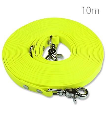 Schleppleine 10m Neon-Gelb - zugfeste, schmutz- und wasserabweisende Hundeleine mit zwei Karabinern