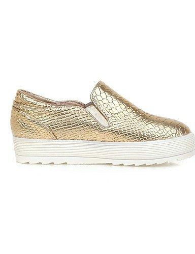 Chaussures Femme Shangyi - Mocassins - Formel - Bout Arrondi - Plateau - Similicuir - Noir / Doré Noir