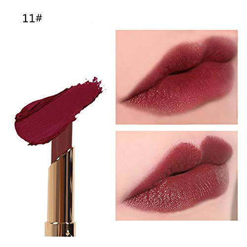 12 Schattierungen Lippenstifte, Huihong Kürbisfarbe Bohnenpaste Lippenstift Lang Anhaltende Matte Lipgloss Kosmetik (11#)