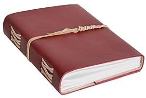 """Gusti Cuir studio """"Lucienne"""" livre en cuir bloc note carnet d'adresses journal intime livre de recettes livre de cuisine fait main bloc à dessin album photo brun rouge 2P31-24-5"""