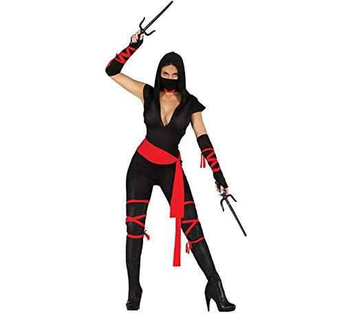 Fiestas Guirca Costume Ninja guerriera Japonais, Noir/Rouge, M, 80794