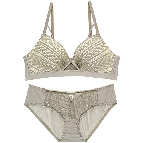 Spitzen-BH-Höschen-Set Französischer dünner Becher, Schwamm, kein Stahlring, Brustunterwäsche einstellen, vier Reihen mit drei Schnallen Kleidung und Hose ( Color : Gray , Size : 75A=32A=70A ) - Französisch Bikini-badeanzug