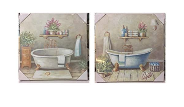 Vasca Da Bagno Quadro : Set quadri bagno stile shabby chic raffigurante vasca retrò cm