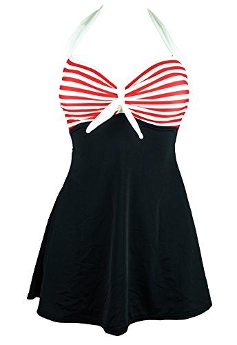 Size Plus Fee Kostüm (Damen Badeanzüge V Ausschnitt Push Up Mit Röckchen Einteiliger Badekleid Gestreift Strappy Rüschen Bandeau Neckholder Bathing Suit)