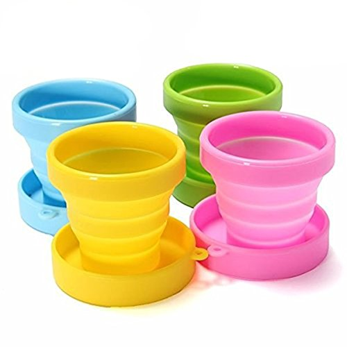 LUFA Tragbare Reisen Cup Klapp-Silikon-Cup für die Reise Camping Schule Outdoor (1 Set enthält 4 Tassen - 1 grün, 1 gelb, 1 Blue, 1 Pink)