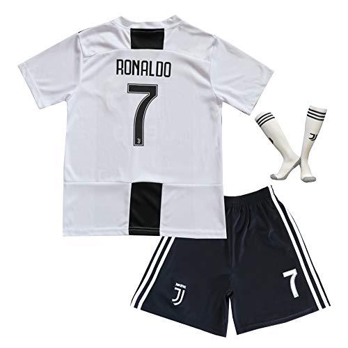 BTA APPAREL 2018/2019 Juventus #7 Cristiano Ronaldo Heim Kinder Fußball Trikot Hose und Socken Kindergrößen (6-8 Jahre)