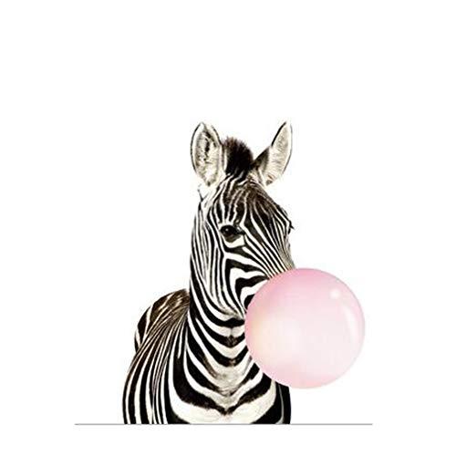 MINRAN DECOR D Leinwanddruck nordisch Karikatur Blasen Ballon Tier/Zebra/Giraffe - Kunstdruck Fine Art Geschenk Moderne Vintage Poster Print Leinwandbild Leinwand Plakat Deko XL011, 1, 50x70cm