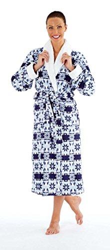 Hermonie 125 Peignoir de Bain en Polaire Bordé Sherpa Ultra Doux Femme Bleu