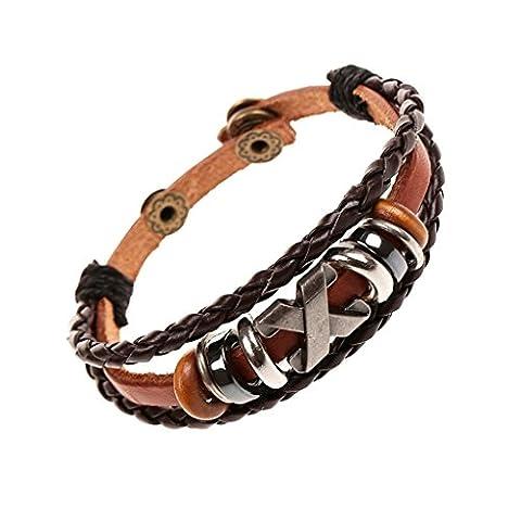 Gnzoe Jewelry, Men/Womens Leather Bracelet Bead Bangle Cuff (Brown Bracciale In Pelle Intrecciato Il Braccialetto)