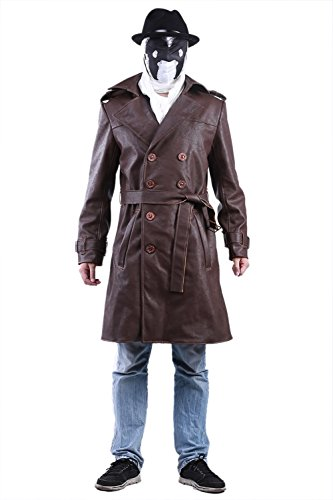 Trench Kostüm Mantel Leder - Dailygocn Herren Trench Mantel Anime Cosplay Kostüm Outfit Braun PU Leder Jacke Erwachsene Motorrad Oberbe Kleidung für Winter